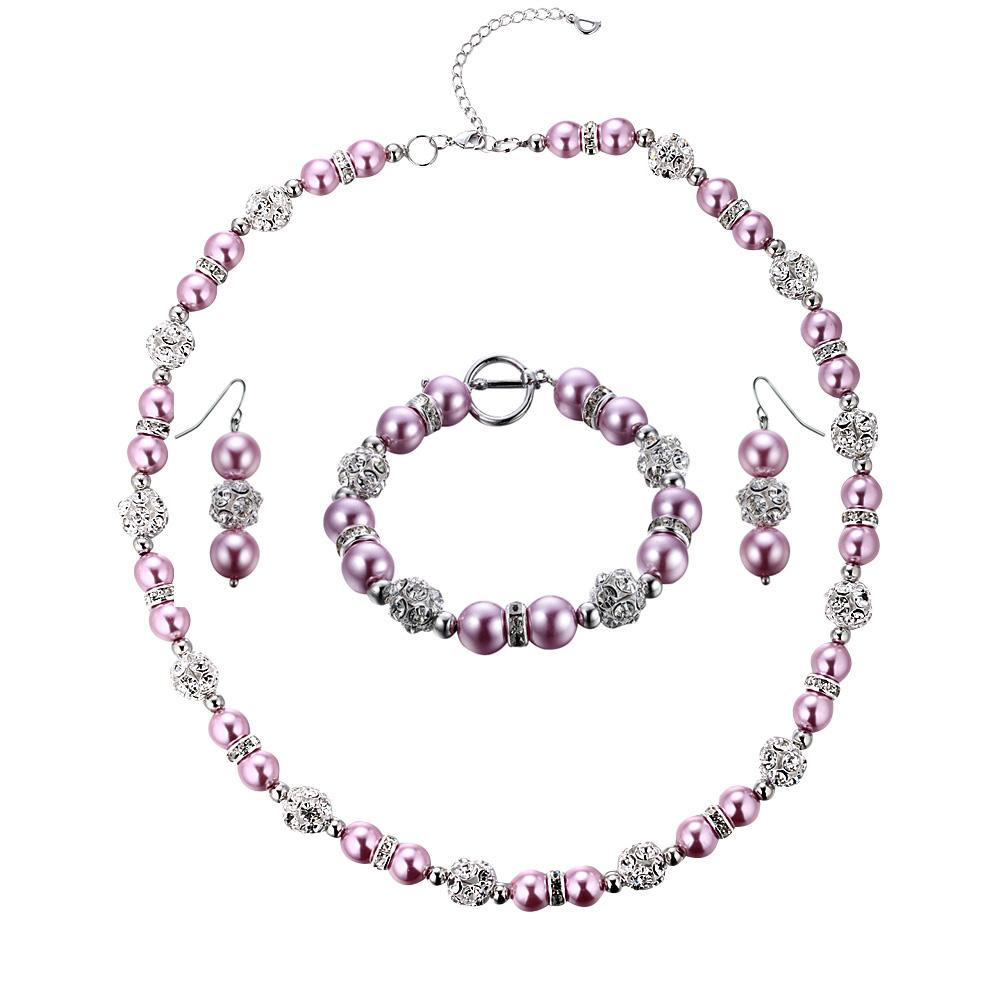 Schmucksets - Schmuckset Halskette und Hänge Ohrringe mit rosafarbenen Perlen und weißen Kristallen  - Onlineshop Blue Pearls