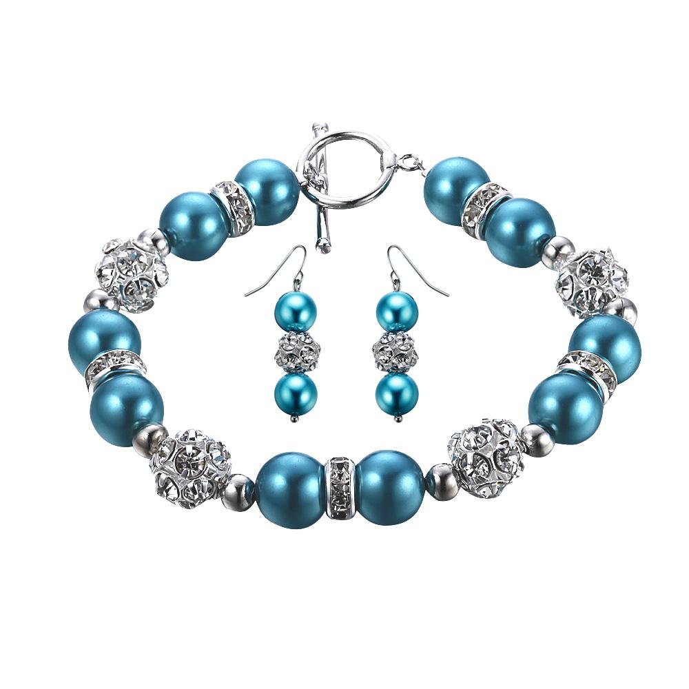 Schmucksets - Schmuckset Armband und Hänge Ohrringe mit blauen Perlen und weißen Kristallen  - Onlineshop Blue Pearls