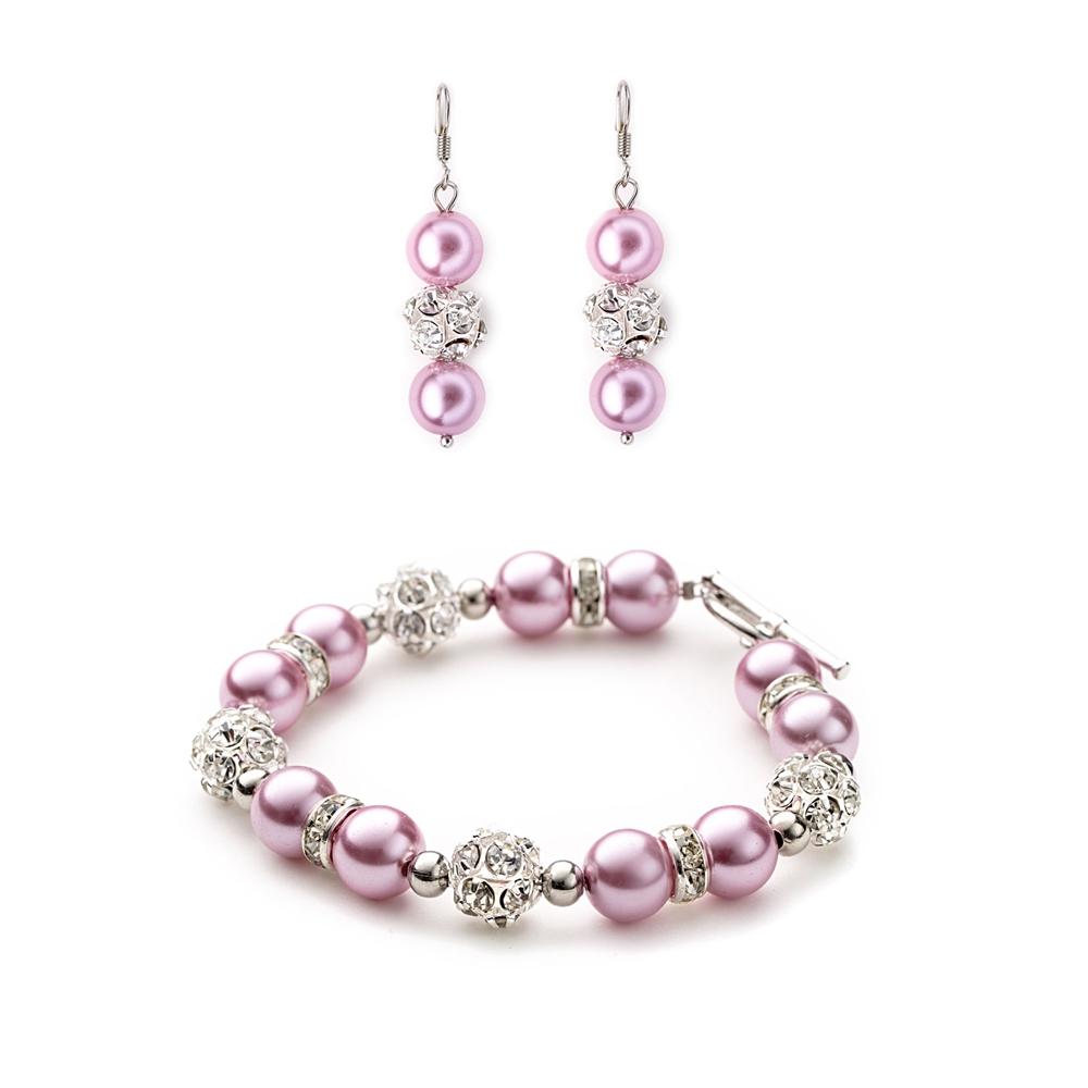 Schmucksets - Schmuckset Armband und Ohrringe mit rosafarbenen Perlen, weißen Kristallen  - Onlineshop Blue Pearls