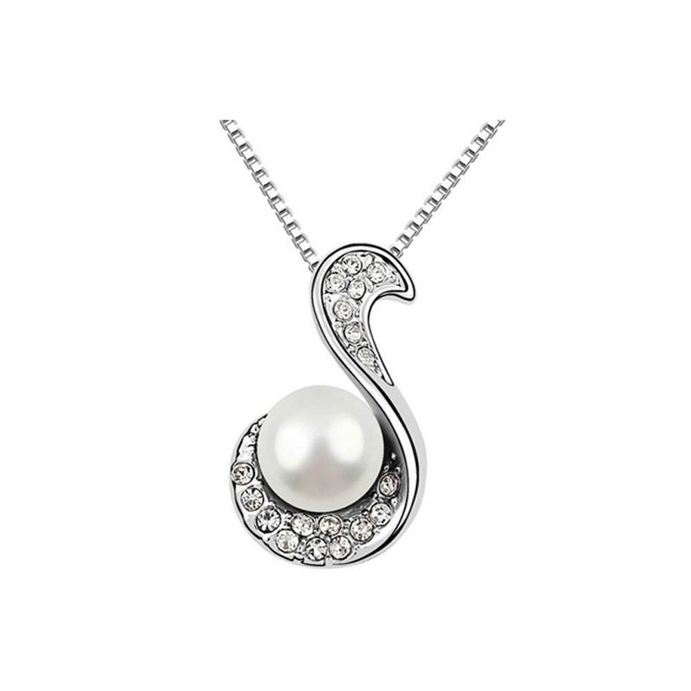 Ketten - Perlen und Kristall Anhänger Weiß  - Onlineshop Blue Pearls