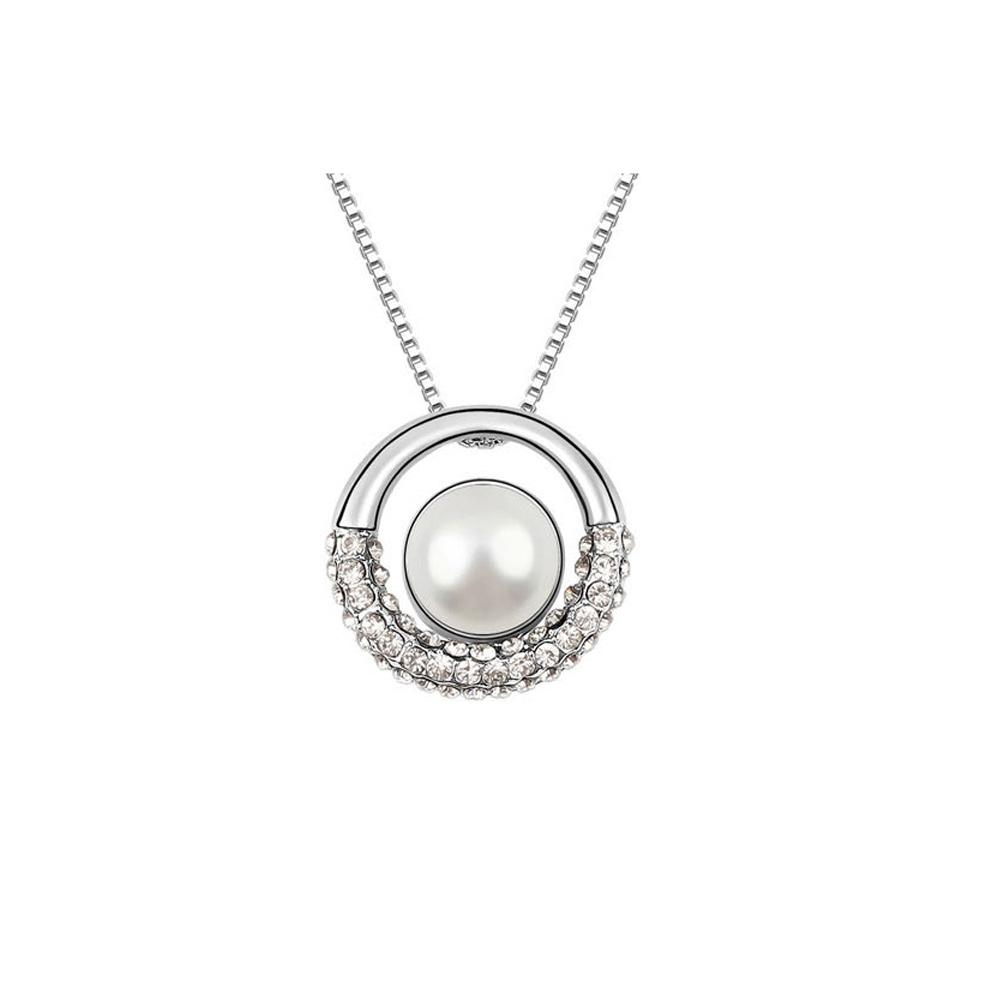 Ketten - Perle und Kristall Kreis Anhänger Weiß  - Onlineshop Blue Pearls