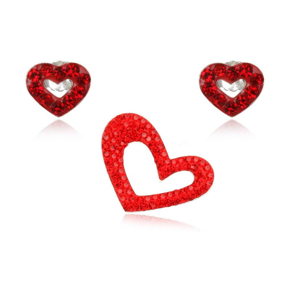 Schmucksets - Set Anhänger und Ohrringe mit Herzen aus rotem Kristall und 925 Sterlingsilber  - Onlineshop Blue Pearls