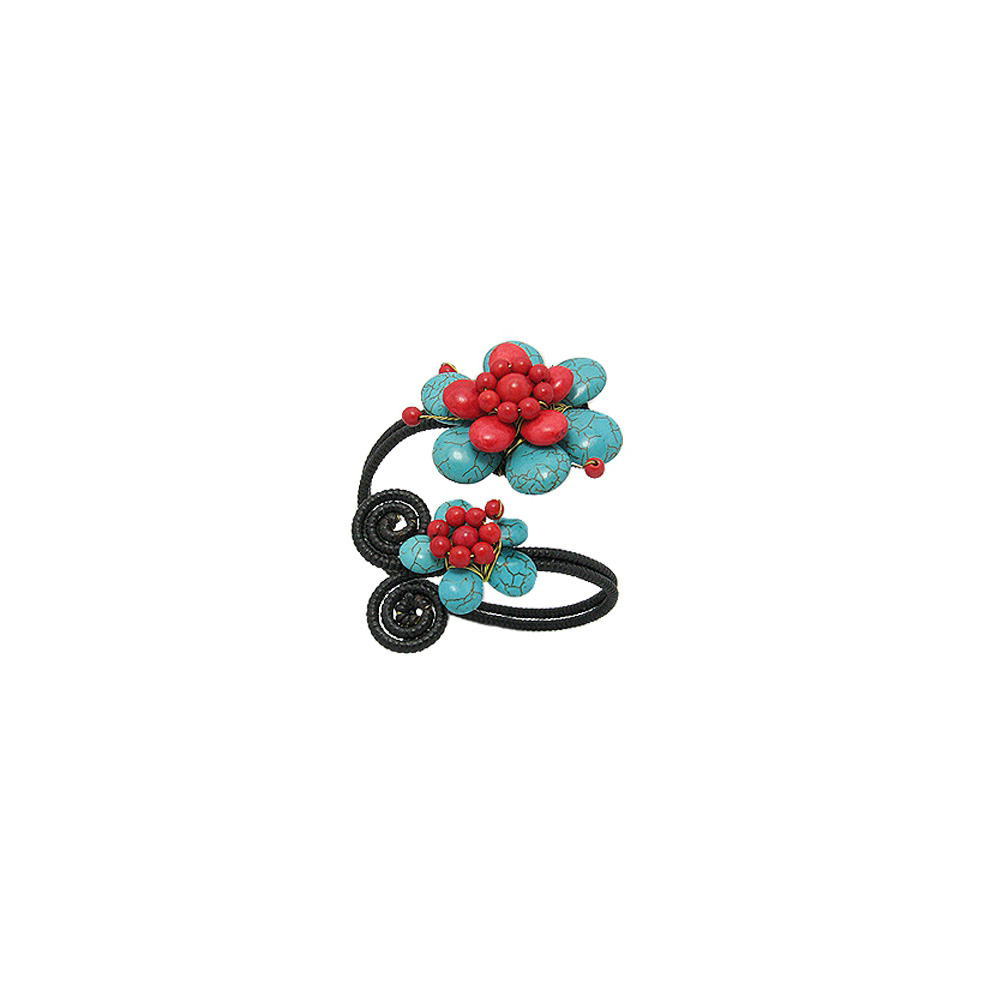 turquoise-gemstones-and-red-flowers-bracelet