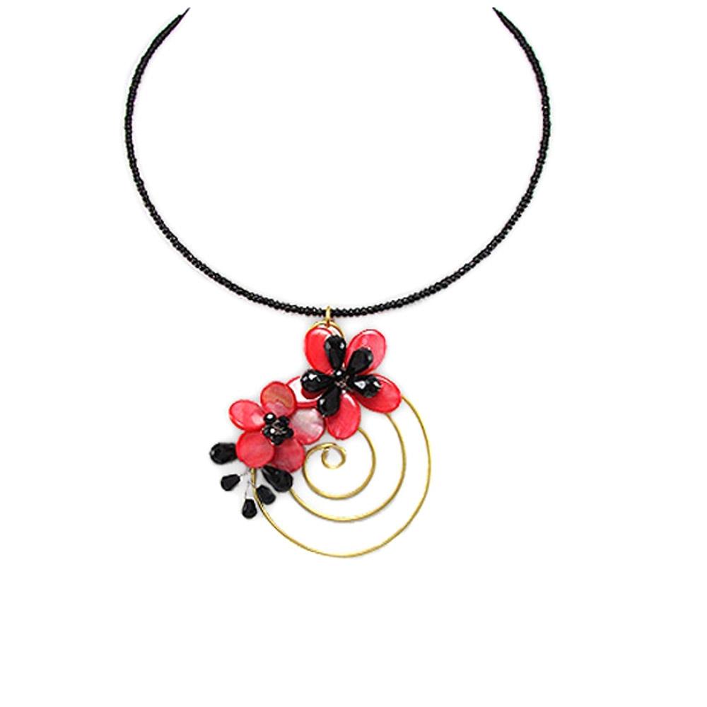 Ketten - Blumen und Spiral Halskette  - Onlineshop Blue Pearls
