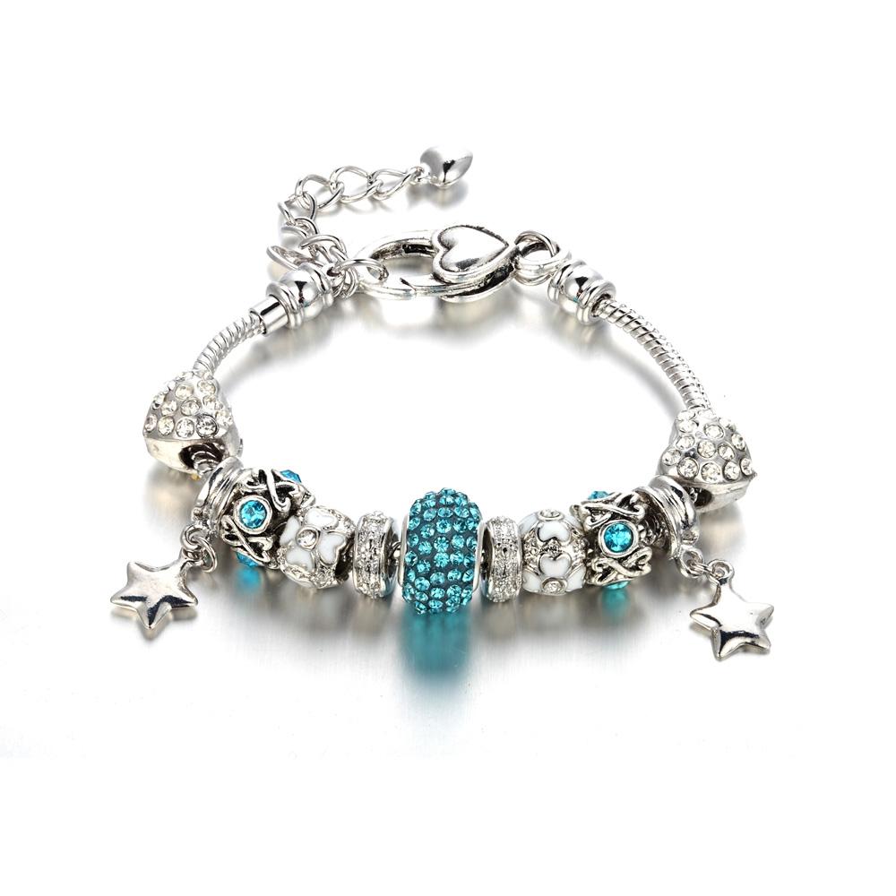 Swarovski Charm Bracelet: Bracelet Charm's Heart And Crystal Swarovski Elements Blue