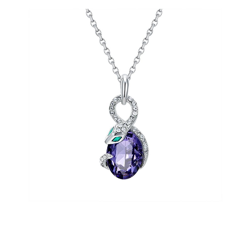 Pendentif Serpent en Cristal de Swarovski Elements Violet et Plaqué Rhodium  - Pendentifs - Blue Pearls 7e0e10ae1757