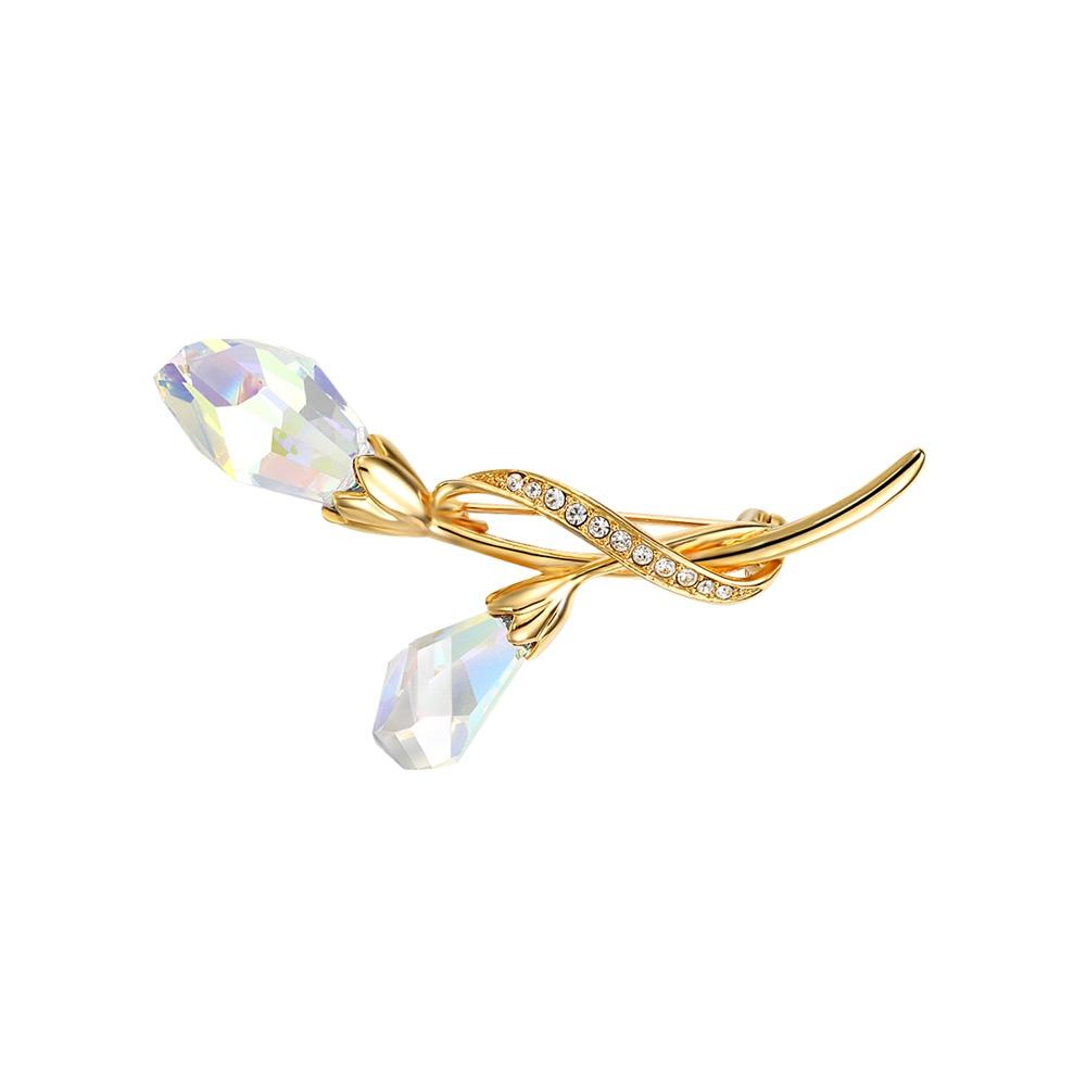 Broschen für Frauen - Rhodiumplattierte Blumen Brosche mit blauen Swarovski Elements mit Gelbgold Überzug  - Onlineshop Blue Pearls