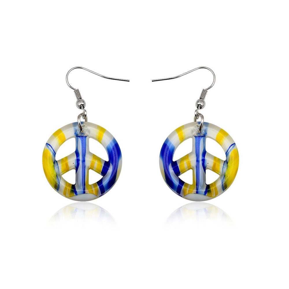 earrings-peace-yellow-murano-glass