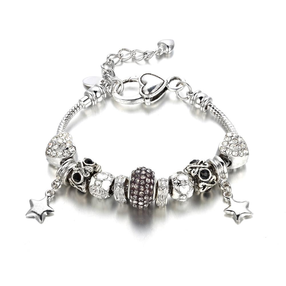 Armbaender für Frauen - Herz Armband mit grauen Swarovski Elements  - Onlineshop Blue Pearls