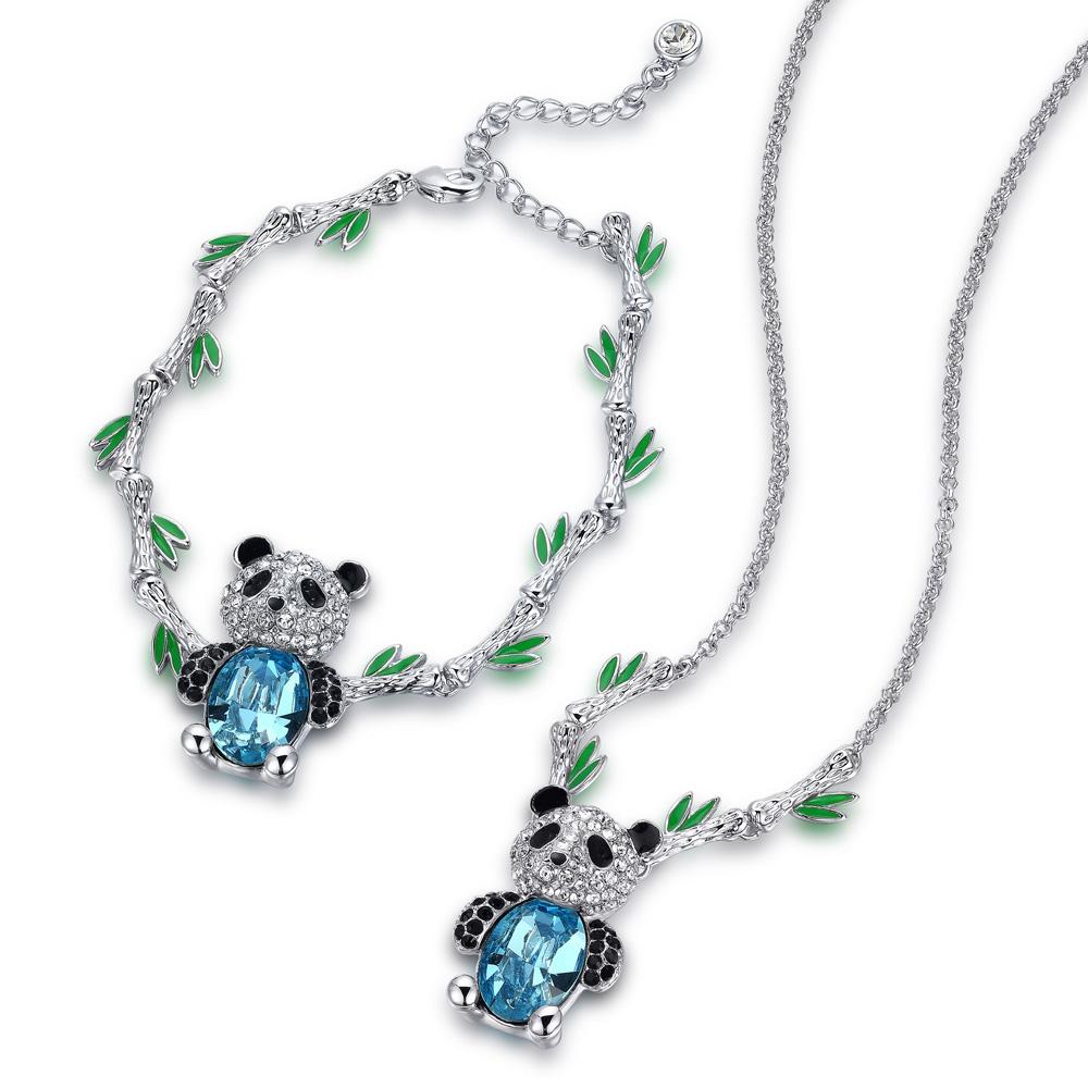 Schmuckset Panda Halskette und Ohrringe mit blauen Swarovski Elements | 2760
