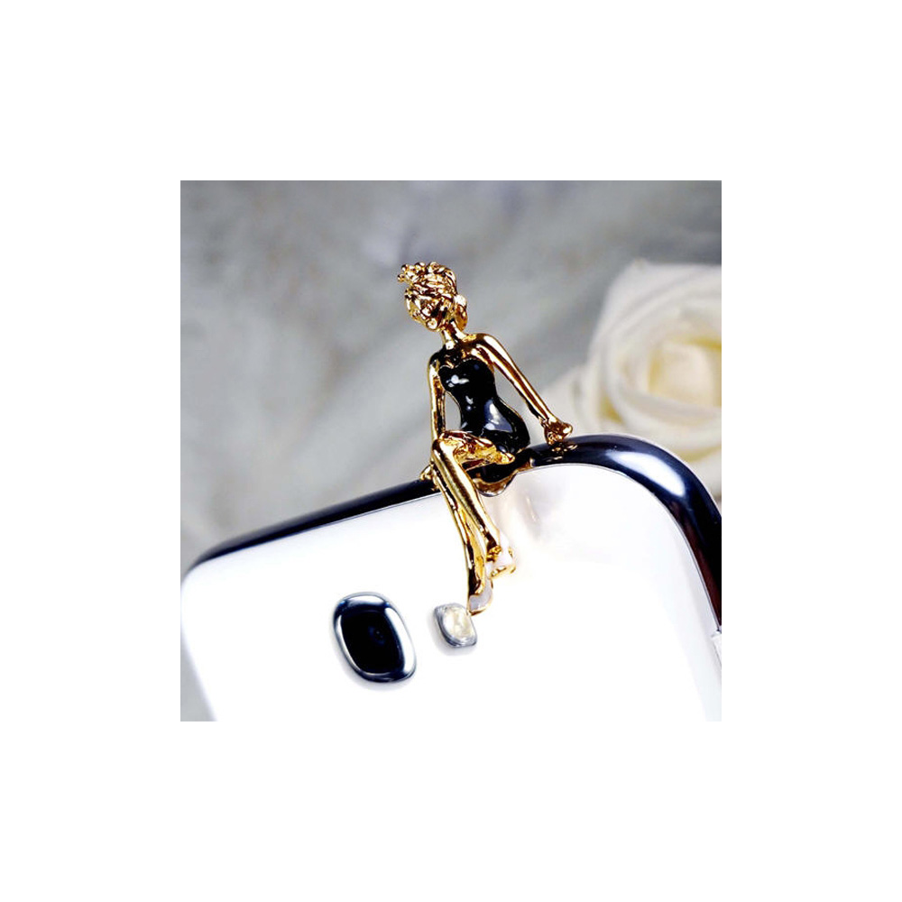 Accessoire Bijoux SmartPhone Princesse email Noir et or jaune