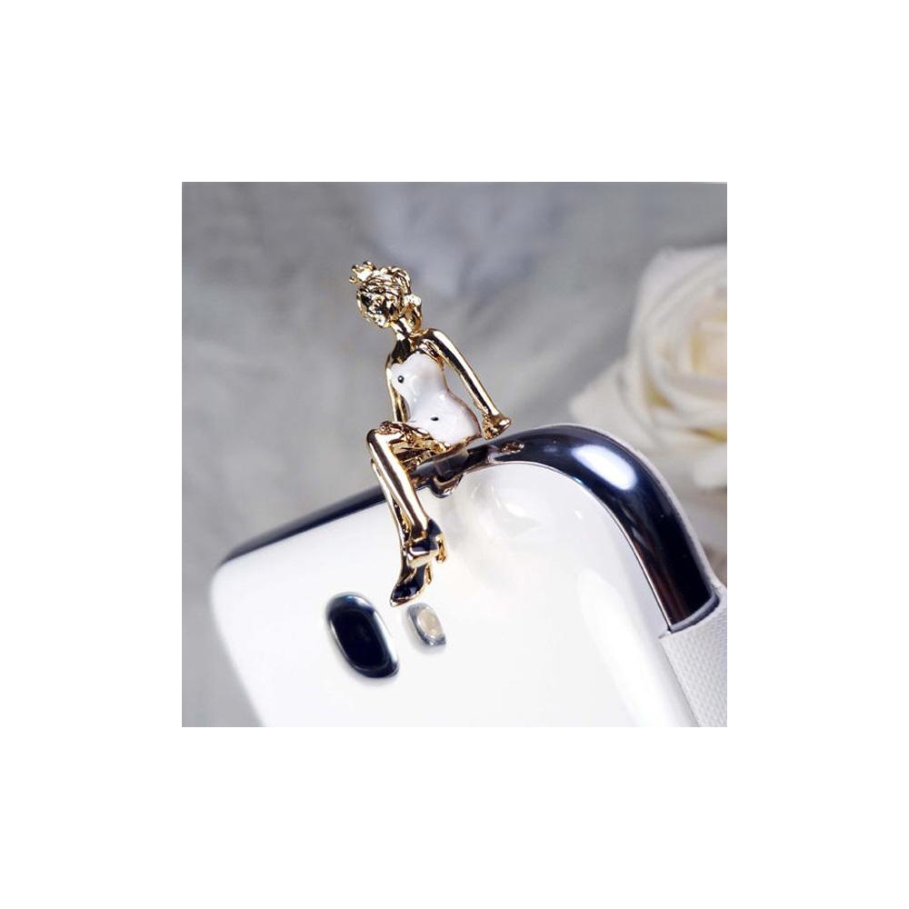 Accessoire Bijoux SmartPhone Princesse email Blanc et or jaune