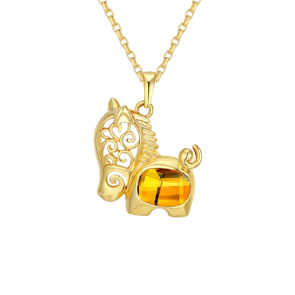 yellow-swarovski-crystal-elements-horse-pendant-and-yellow-gold-plated