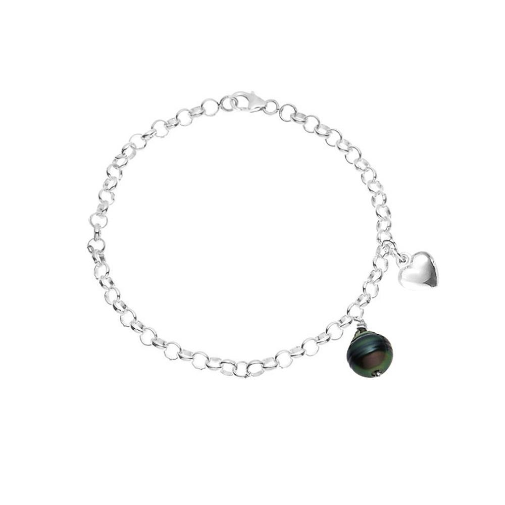 Armbaender für Frauen - Damen Armband in Sterling Silber 925 1000, Tahitian Perle mit rundem 9mm Schwarz und Herz Anhänger  - Onlineshop Blue Pearls