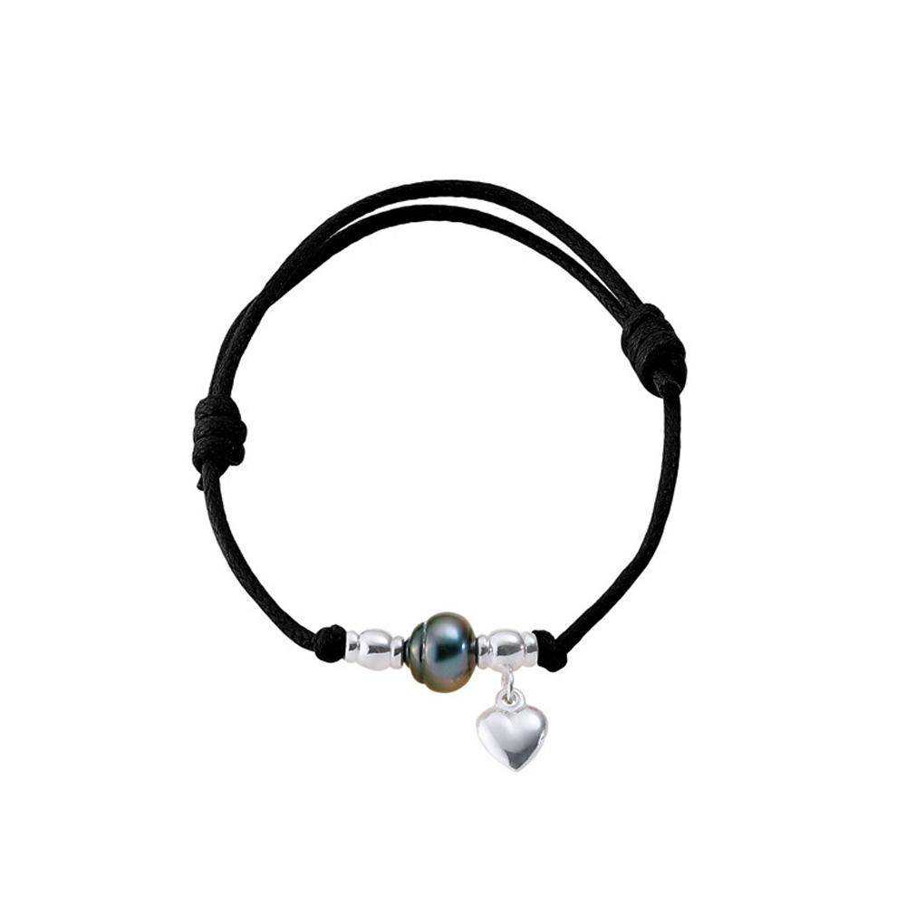Armbaender für Frauen - Armband Tahitian Perla Herz 925 Sterlingsilber und gewachster, schwarzer Baumwolle  - Onlineshop Blue Pearls