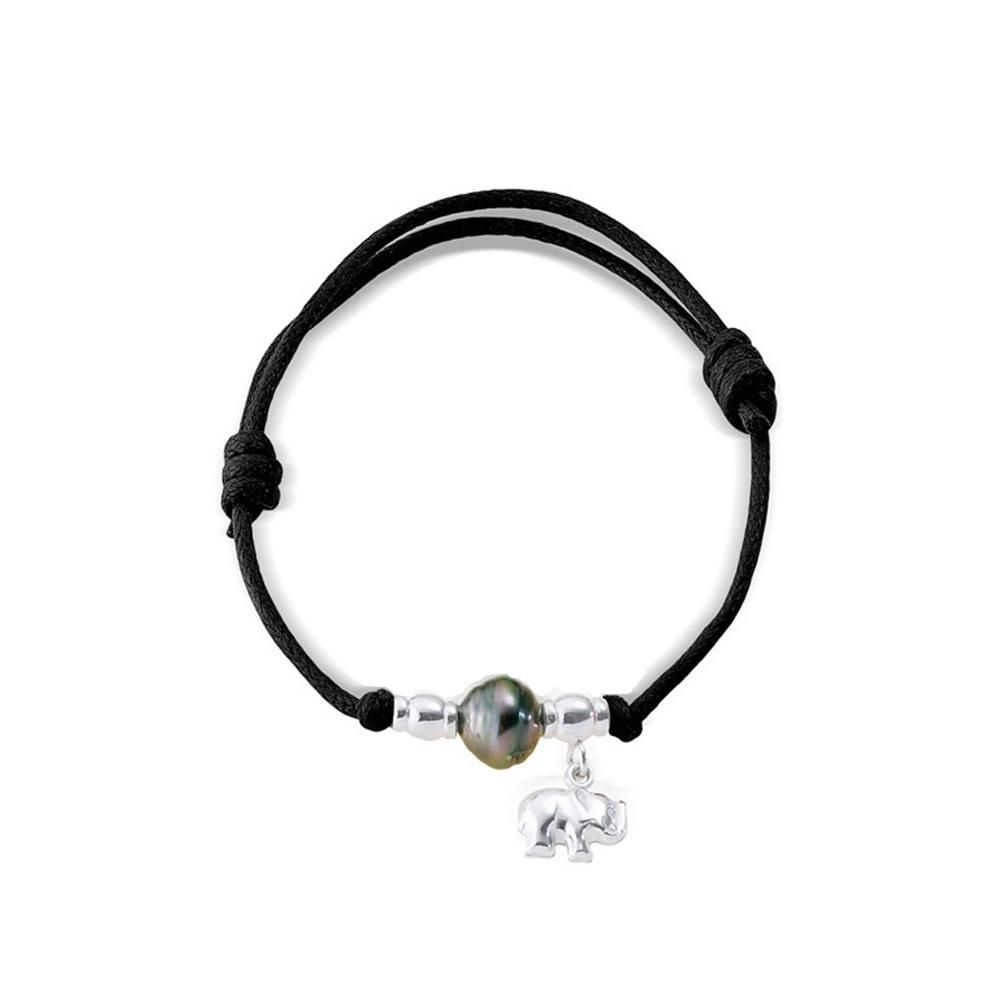 Armbaender für Frauen - Tahiti Perlen Armband, Elefant 925 Sterlingsilber und gewachste Baumwolle Schwarz  - Onlineshop Blue Pearls
