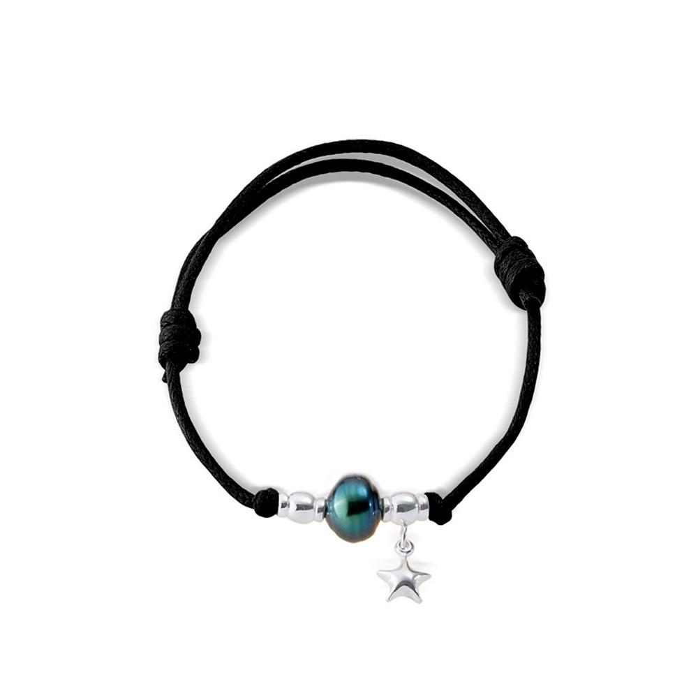 Armbaender für Frauen - Tahiti Perlen Armband, Stern 925 Sterlingsilber und gewachster Baumwolle Schwarz  - Onlineshop Blue Pearls