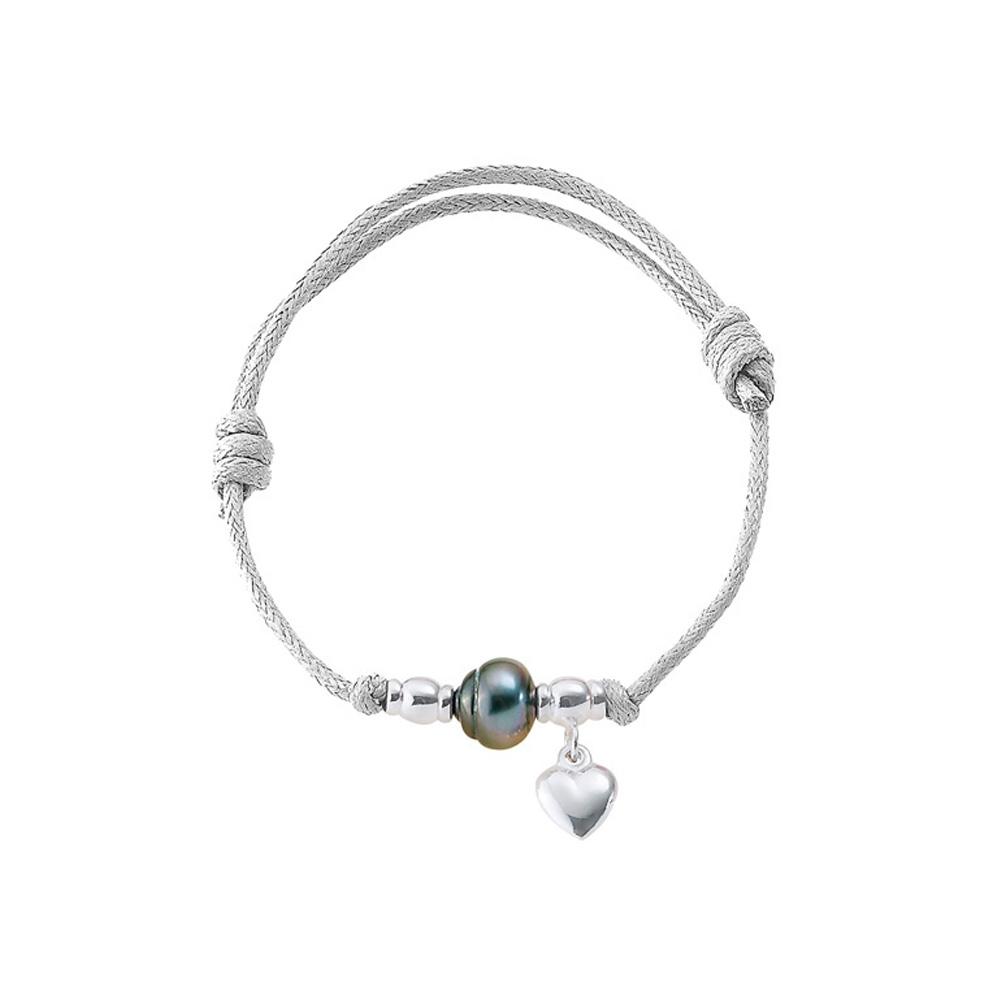 Armbaender für Frauen - Armband Tahiti Perle Herz 925 Sterlingsilber und gewachster Baumwolle Weiß  - Onlineshop Blue Pearls