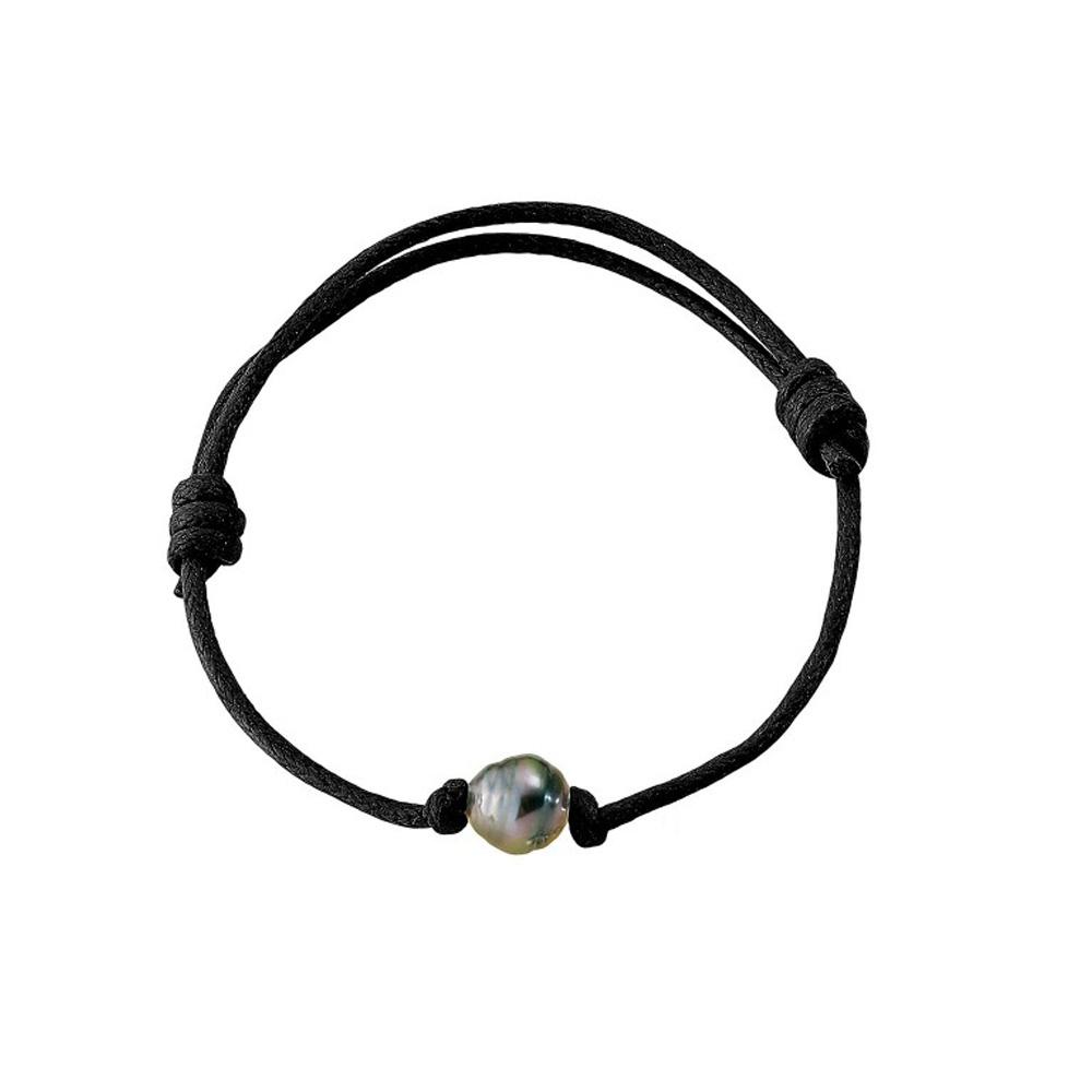 Armbaender für Frauen - Tahiti Perlen Armband und gewachste schwarze Baumwolle  - Onlineshop Blue Pearls