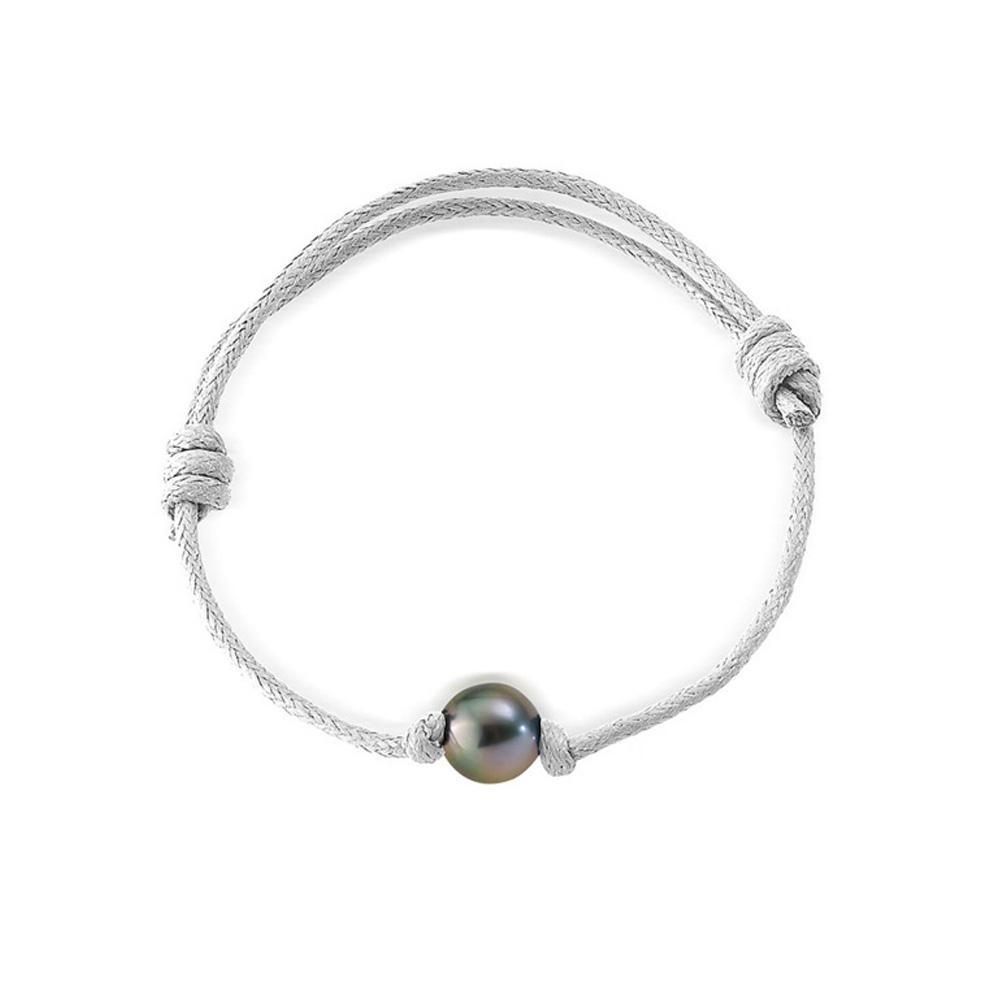 Armbaender - Armband Tahiti Perle und weiße, gewachste Baumwolle  - Onlineshop Blue Pearls