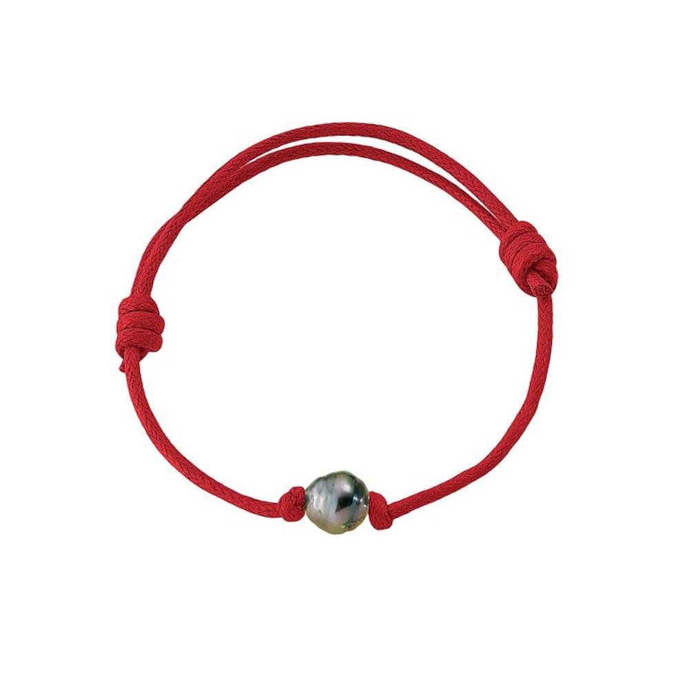 Armbaender für Frauen - Armband Tahiti Perle und rote, gewachste Baumwolle  - Onlineshop Blue Pearls