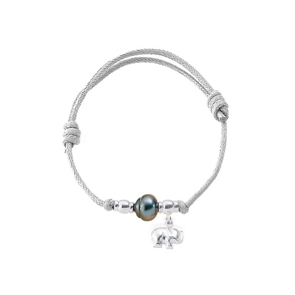 Armbaender für Frauen - Tahiti Perlen Armband, Elefant 925 Sterlingsilber und gewachste Baumwolle Weiß  - Onlineshop Blue Pearls