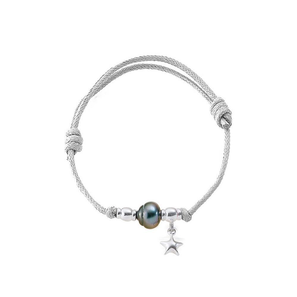 Armbaender für Frauen - Tahiti Perlen Armband, Stern 925 Sterlingsilber und gewachste Baumwolle Weiß  - Onlineshop Blue Pearls