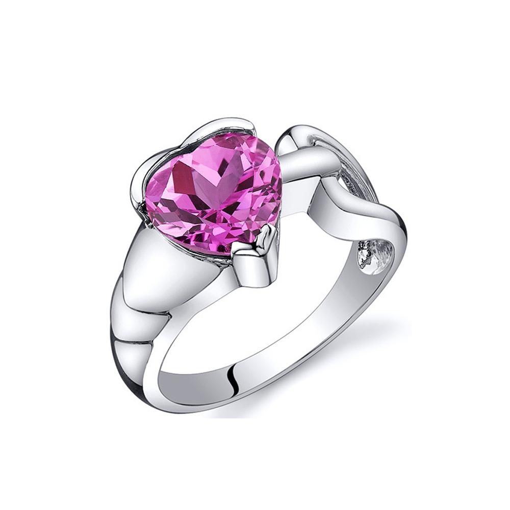 Ringe - Ring mit herzförmigen rosa Rubinstein in 925 Sterling Silber (2,50 cts)  - Onlineshop Blue Pearls