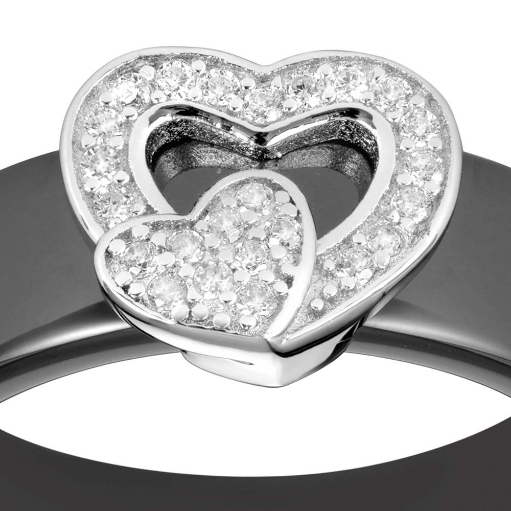 Bague coeur en c ramique noir cristaux cubic zirconia blancs et argent 925 t52 bagues - Bague en ceramique ...