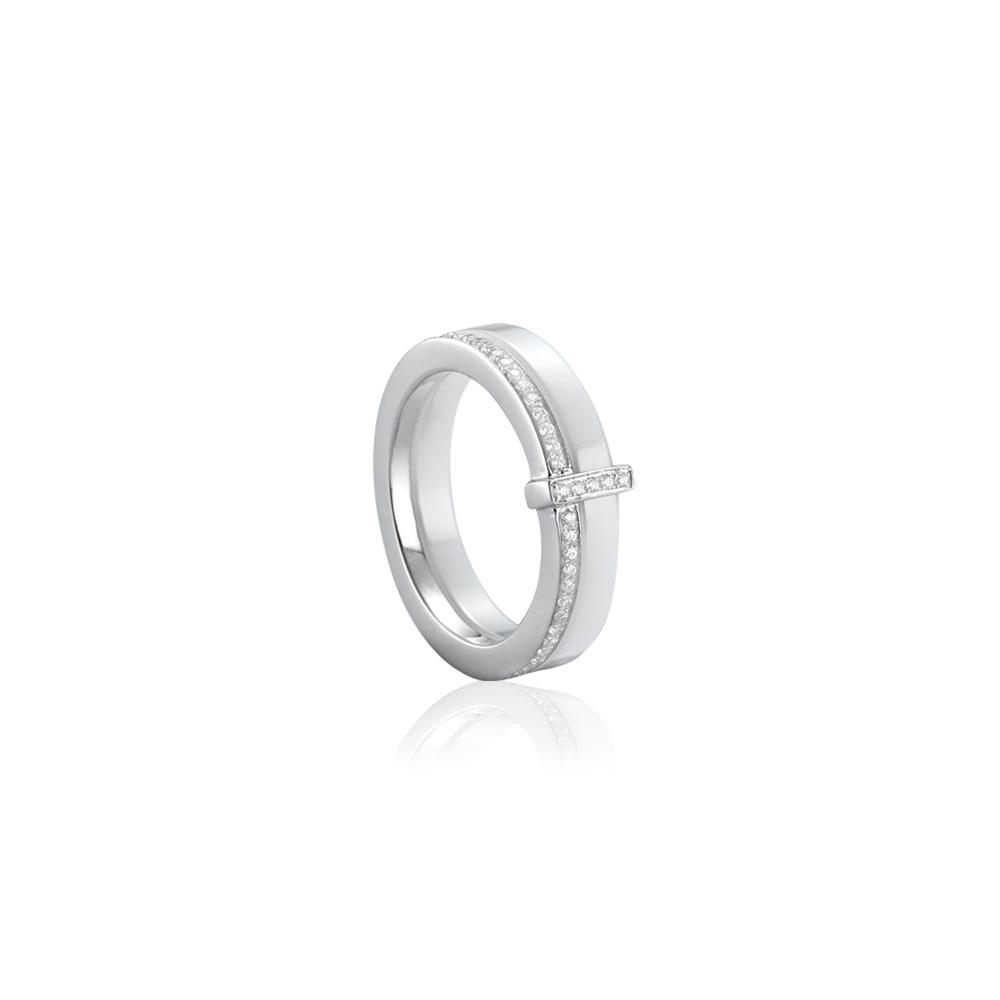 Bague en c ramique blanc cristaux cubic zirconia blancs et argent 925 t50 bagues blue pearls - Bague en ceramique ...