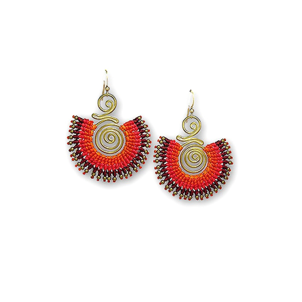 gold-pearl-and-gold-metal-orange-spiral-earrings