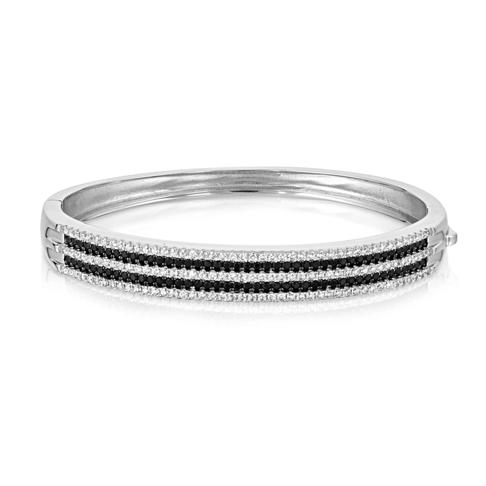 Bangle Bracelet Silver And 218 Black And White Swarovski