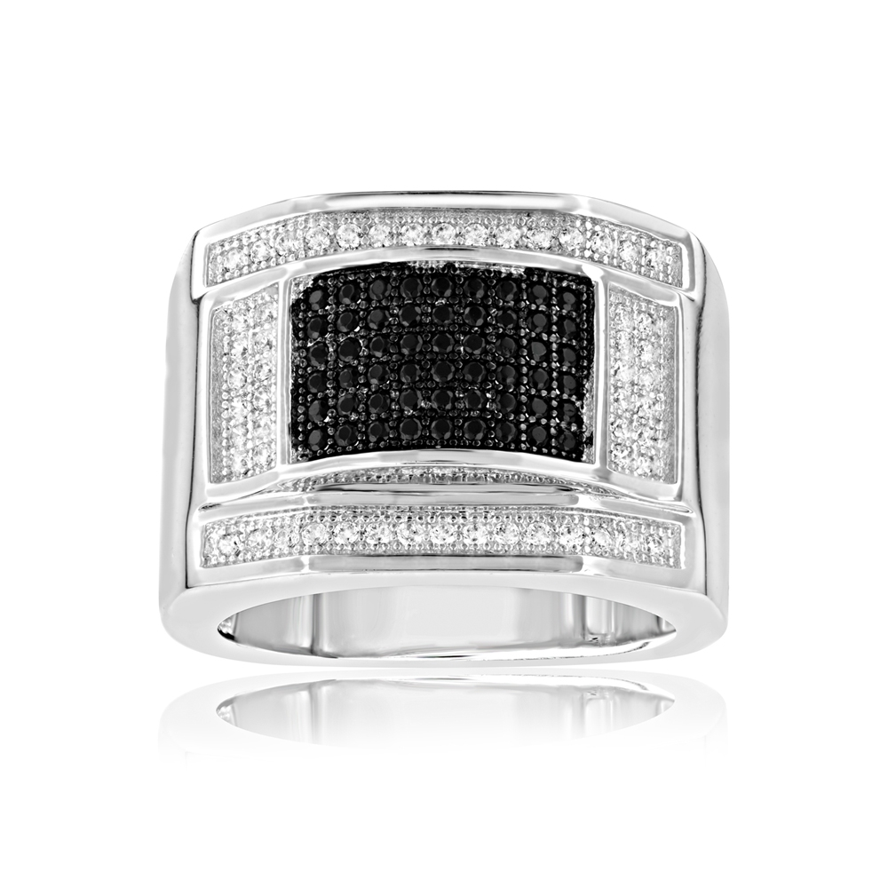 108 Black and White Swarovski Crystal Zirconia Signet Ring and 925 Silver - T7