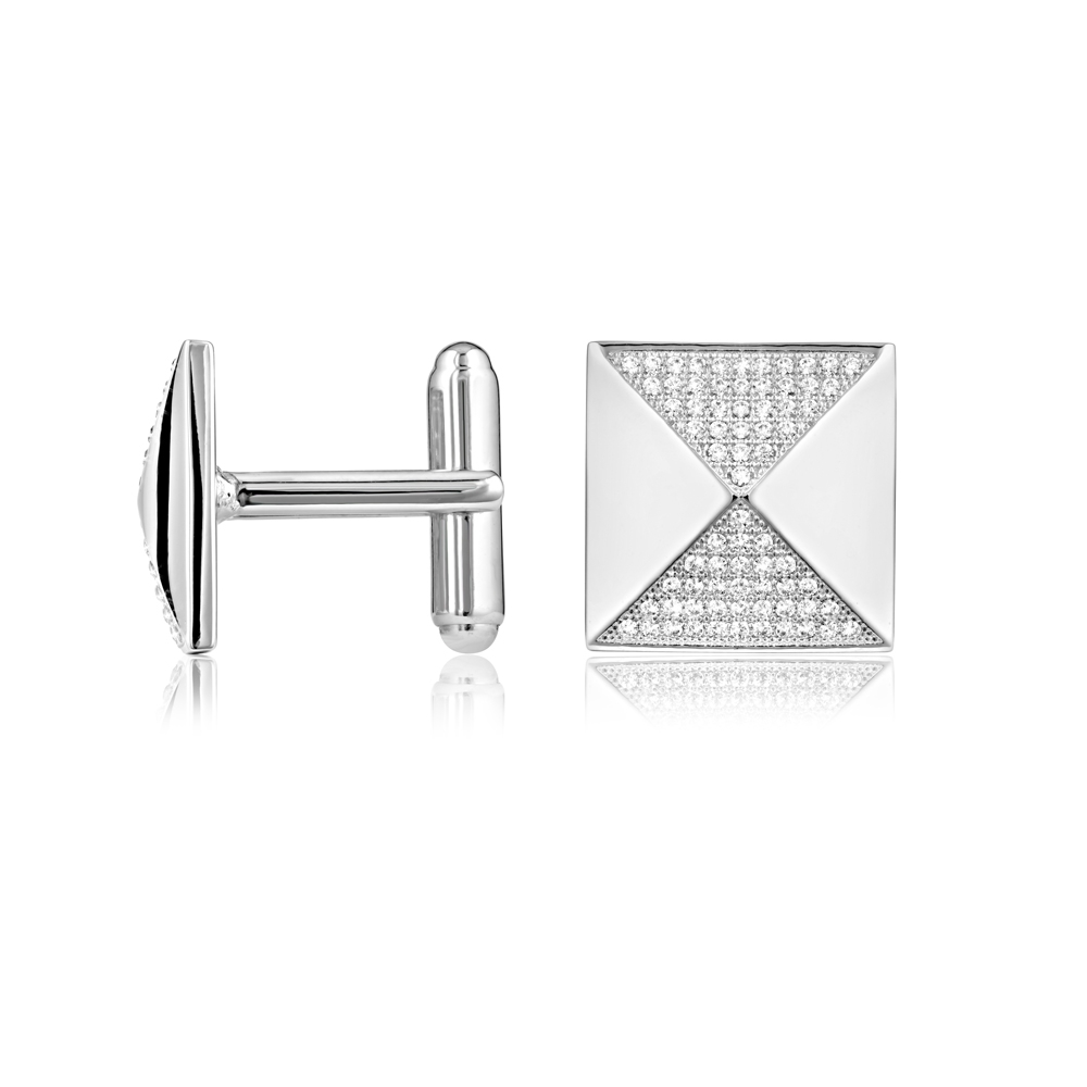 114 White Swarovski Crystals Cubic Zirconia Cufflinks and Silver Mounting