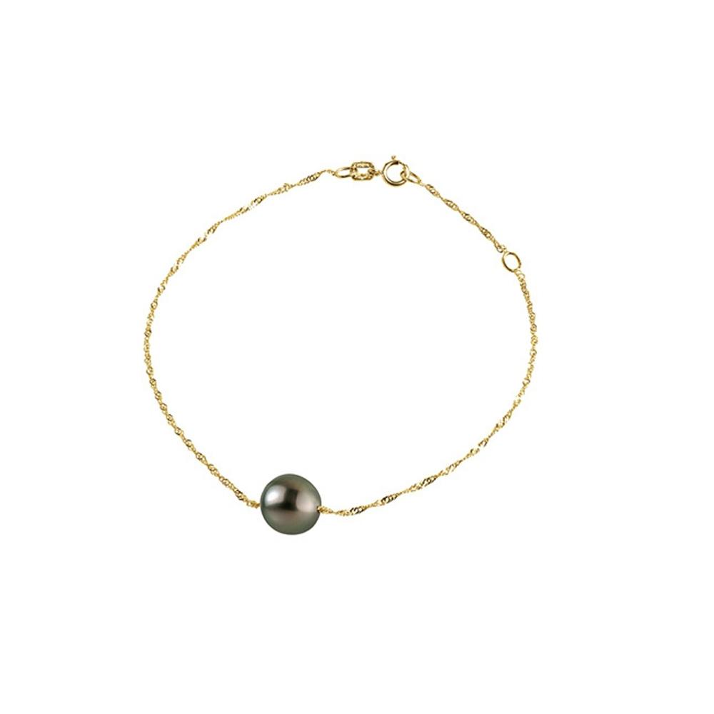 Armbaender für Frauen - Schwarzen Tahiti Perle Armband und Gelbgold 375 1000  - Onlineshop Blue Pearls