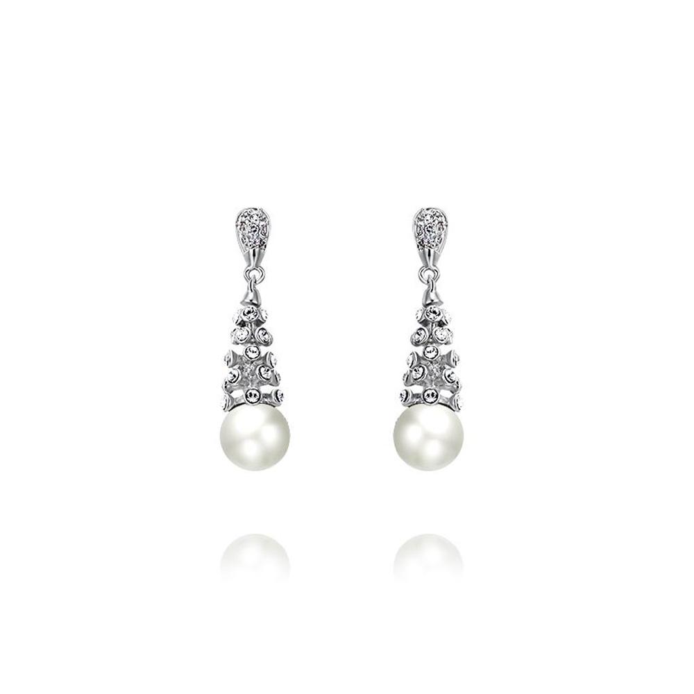Ohrringe - Rhodiumplattierte Blumen Perlen Ohrringe mit weißen Swarovski Elements  - Onlineshop Blue Pearls