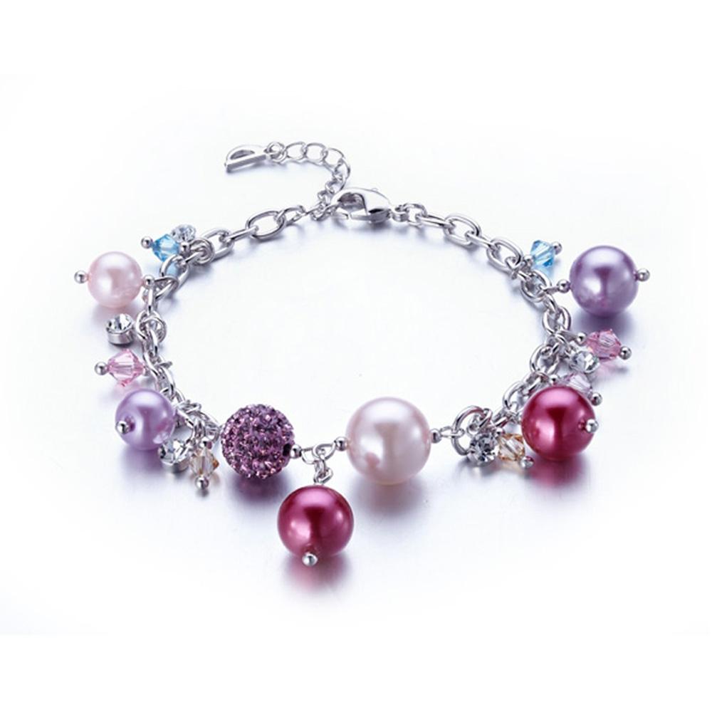 Armbaender für Frauen - Armband mit Perlen, rosafarbenen Swarovski Elements und Rhodium überzogen  - Onlineshop Blue Pearls