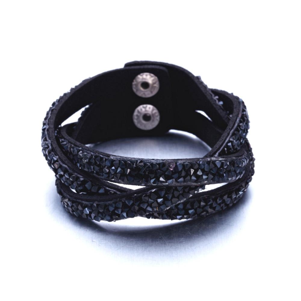 Armbaender für Frauen - Armband mit schwarzen Swarovski Elements und schwarzem Lederband  - Onlineshop Blue Pearls