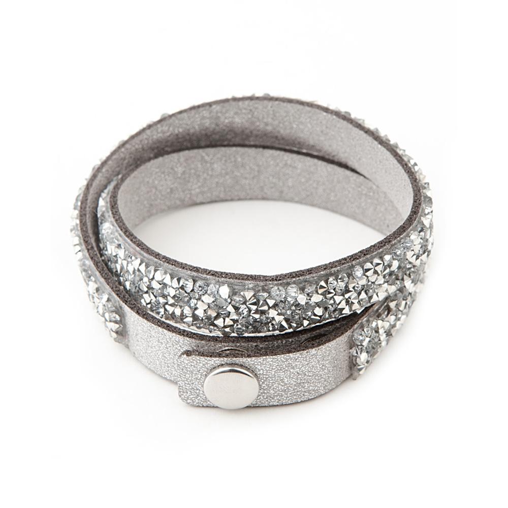bracelet crystals white and silver swarovski elements and leather glittery 3700698734917 ebay. Black Bedroom Furniture Sets. Home Design Ideas