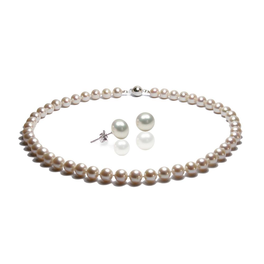Parure Collier et Boucles d`Oreilles Perles de culture Blanc et Argent 925