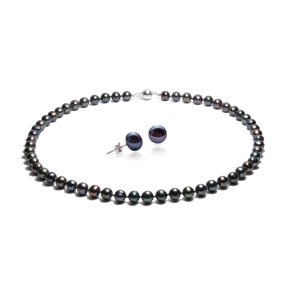 Parure Collier et Boucles d`Oreilles Perles de culture Noir et Argent 925