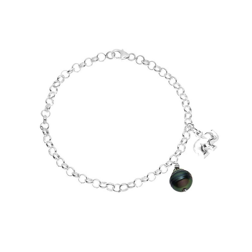 Armbaender für Frauen - Armband Elefant Tahitiperle und 925 Sterlingsilber  - Onlineshop Blue Pearls