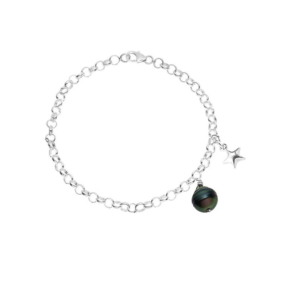 Armbaender - Armband Stern Tahiti Perle und 925 Sterlingsilber  - Onlineshop Blue Pearls