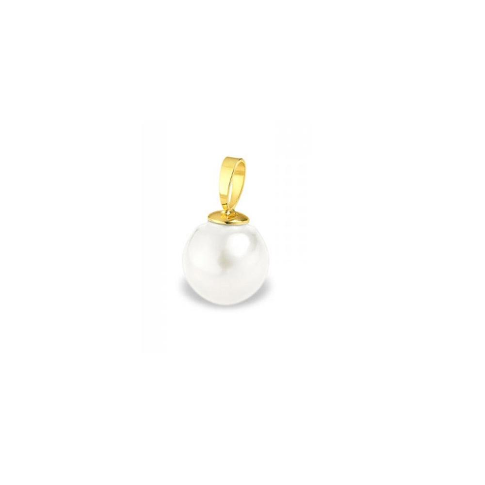 Ketten - Anhänger Weissen Süßwasser Zuchtperlen und Gelbgold 375 1000  - Onlineshop Blue Pearls
