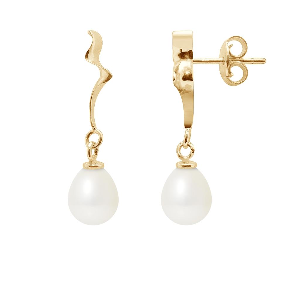 Ohrringe - Ohrringe Weissen Süßwasser Zuchtperlen und Gelbgold 375 1000  - Onlineshop Blue Pearls