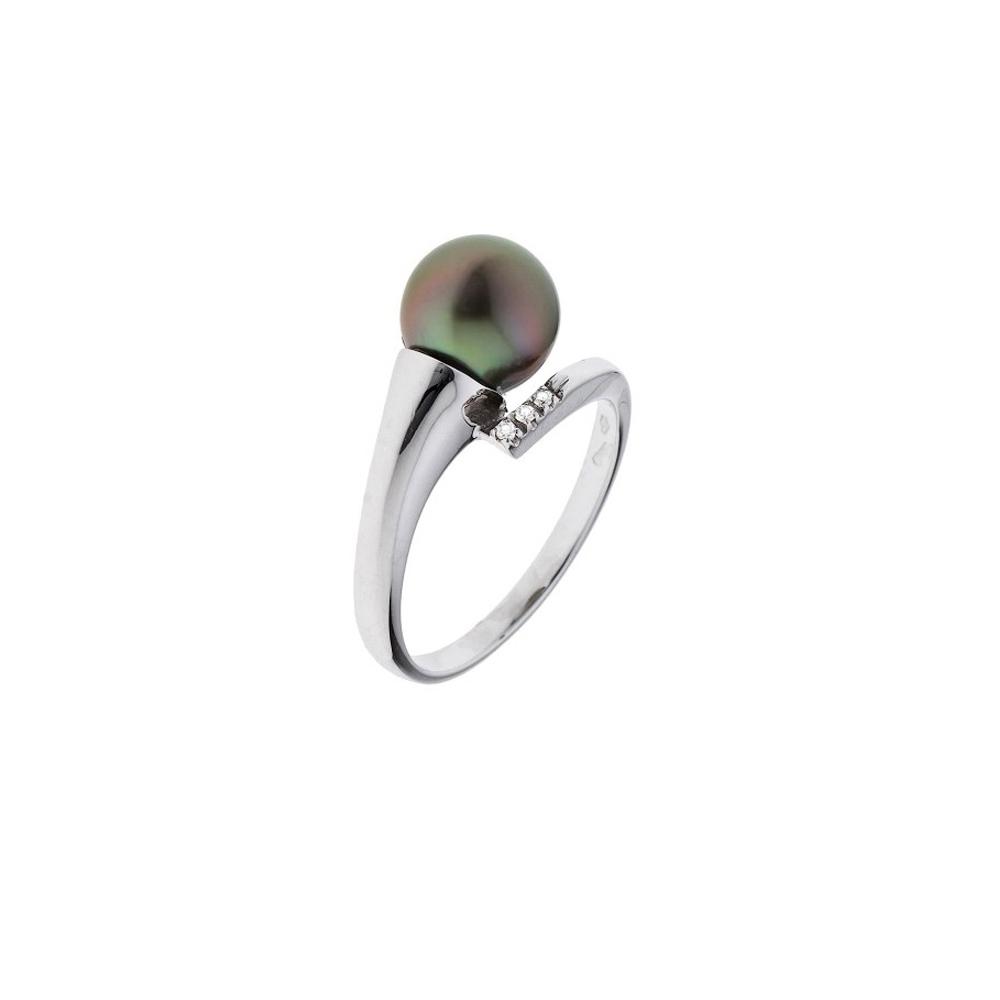 Ringe - Ring Tahiti Perlen, Diamanten und weißes Gold 375 1000  - Onlineshop Blue Pearls