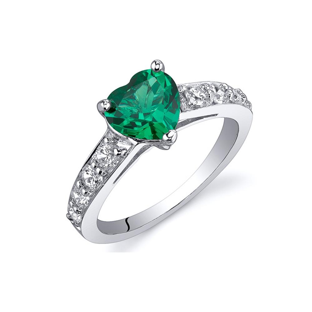 Ringe - Ring mit herzförmigem Smaragd in 925 Sterlingsilber 1 cts  - Onlineshop Blue Pearls