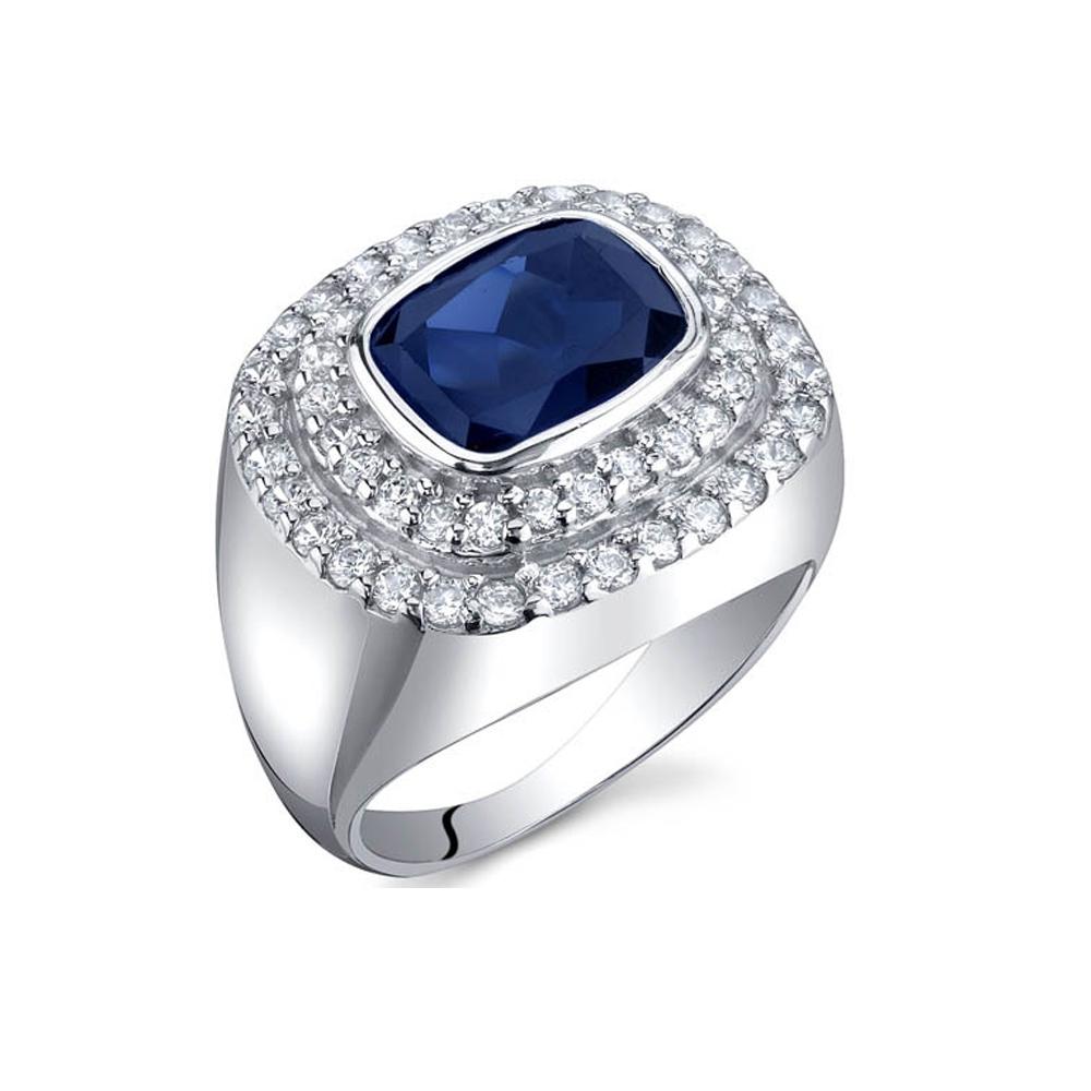 Ringe - 925 Sterlingsilber Ring mit Saphir 3 cts und weißen Kubik Zirkoniasteinen  - Onlineshop Blue Pearls
