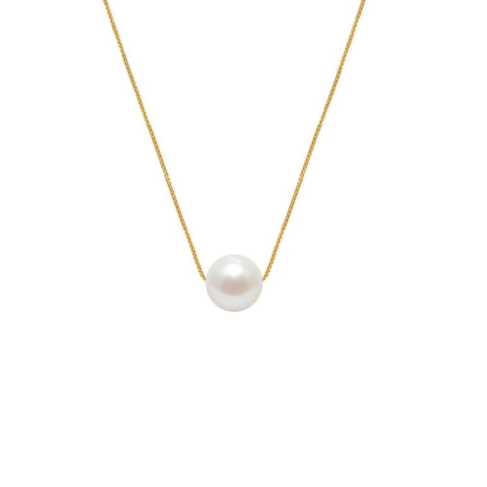 Ketten - Frau Chokerhalskette und Venitian Kette 750 1000 Gelbgold und weiße Süßwasserzuchtperle  - Onlineshop Blue Pearls