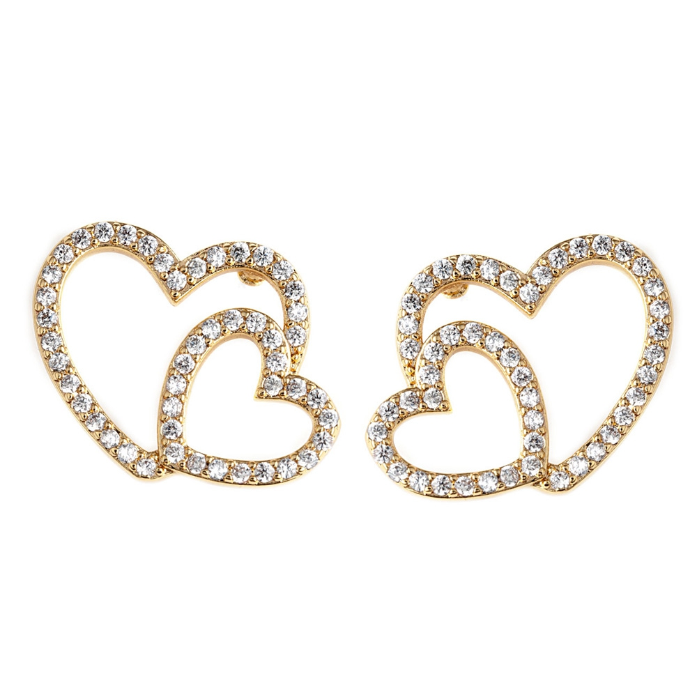 Yellow Gold Plated Heart Earrings and White Cubic Zirconia